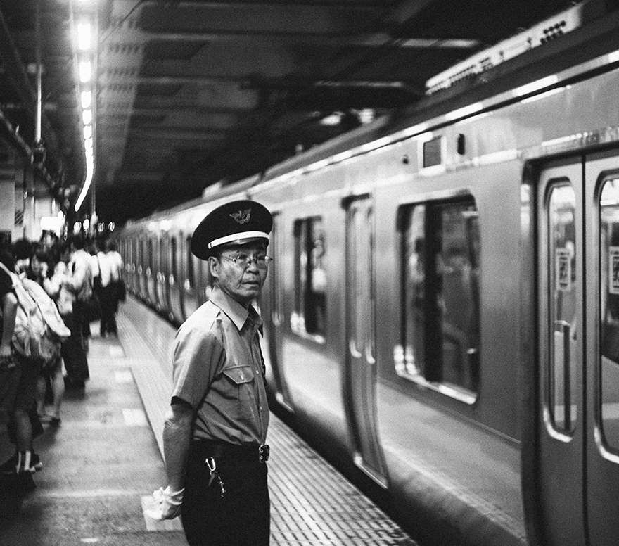 Old Japanese bullet train japan conductor